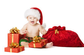 foto of new years baby  - Christmas Baby Kids Present Gift Box And Santa Bag Child Happy Smiling In Red Hat With Xmas Sackful Isolated White Background - JPG
