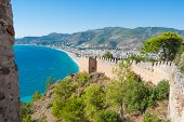 stock photo of cleopatra  - castle of Alanya and the Cleopatra beach - JPG
