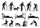 pic of crippled  - Vector illustration of people with sickness disabilities and suffering - JPG