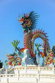 foto of dragon  - Chinese Dragon statue in dragon park in Nakornsawan Thailand - JPG