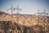 image of power lines  - High Voltage Power Line in Nevada Near Hoover Dam - JPG