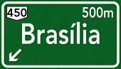 stock photo of brasilia  - Brasilia Brazil Highway Road Sign 3D artwork - JPG