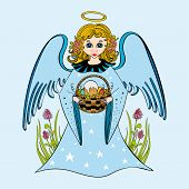 picture of little angel  - Cute little girl angel holding a wicker basket with Easter cake and colorful eggs - JPG
