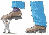 stock photo of stomp  - an illustration with foot stomping a man - JPG
