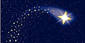 image of shooting stars  - A shooting star surrounded by several star clusters - JPG