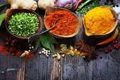 stock photo of spice  - Spices Curry Paprika Dry Chives - JPG