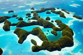 stock photo of pacific islands  - Beautiful view of 70 islands in Palau from above - JPG