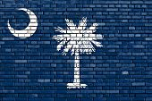picture of south american flag  - flag of South Carolina painted on brick wall - JPG
