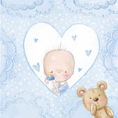 pic of baby bear  - Baby shower greeting card - JPG