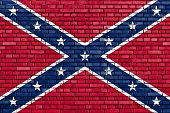 stock photo of flag confederate  - a confederate flag painted on brick wall - JPG