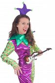 picture of harlequin  - Girl in harlequin costume isolated on white - JPG
