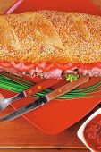 stock photo of french curves  - french sandwich on red plate  - JPG