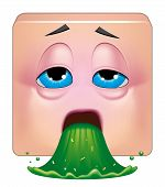 stock photo of vomiting  - Illustration on white background of Square emoticon vomiting - JPG