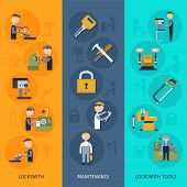 pic of locksmith  - Locksmith banners vertical set with maintenance tools flat elements isolated vector illustration - JPG