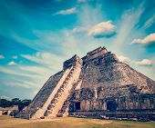 image of mayan  - Vintage retro effect filtered hipster style image of anicent mayan pyramid in Uxmal - JPG