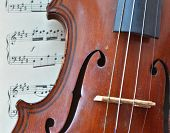 image of violin  - German ancient violin and notes - JPG