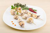 foto of cuttlefish  - Grilled cuttlefish bbq with rosemary and pepper - JPG