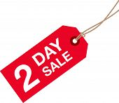 stock photo of going out business sale  - a red two day left sale sign - JPG