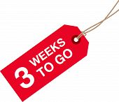 stock photo of going out business sale  - a three week to go red sign - JPG