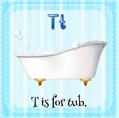picture of letter t  - Flash card letter T is for tub - JPG