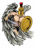 foto of spartan  - An illustration of a warrior angel character or sports mascot in a Trojan or Spartan style helmet holding a sword and shield - JPG