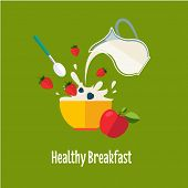 stock photo of breakfast  - Healthy Breakfast Breakfast concepts French Breakfast and Nutritious Breakfast vector illustration - JPG