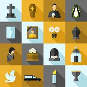 picture of ashes  - Funeral icons flat long shadow set with ash candle church isolated vector illustration - JPG