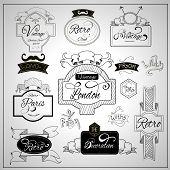picture of nostalgic  - Retro design nostalgic elements with catchwords ribbons and moustaches on whiteboard black felt pen abstract vector illustration - JPG