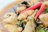 image of catfish  - Thai food name Spicy Fried Stir Catfish - JPG