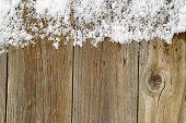 stock photo of snow border  - Christmas border with snow on rustic wooden boards - JPG