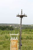 pic of transformer  - Old and rusty transformer station installed outside city - JPG