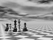 picture of chessboard  - 3d render with chess pieces - JPG
