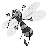 foto of mosquito  - Mosquito flying in black and white - JPG