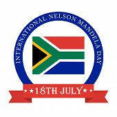 picture of nelson mandela  - illustration of a greeting card for International Nelson Mandela Day with red ribbon - JPG