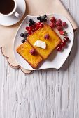 pic of french-toast  - hot french toast with berries and coffee on the table - JPG