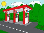 foto of petrol  - Petrol station on the roan near the forest - JPG