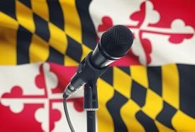 stock photo of maryland  - Microphone with US states flags on background series  - JPG