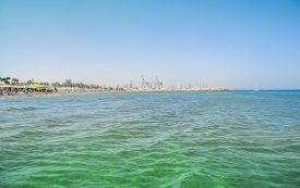 picture of larnaca  - Sunny Larnaca beach on the island of Cyprus - JPG