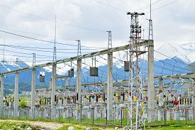 stock photo of substation  - Substation for high voltage conversion and distribution of electricity - JPG