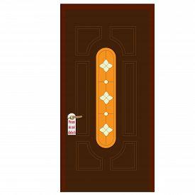foto of door-handle  - ?ooden door with stained glass window and golden handle with please do not disturb sign on it. Closed door. House door. Front door. Hotel door - JPG