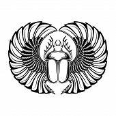 Hand Drawn Vintage Tattoo Art. Vector Illustration, Symbol Of Pharaoh, Resurrection Element Of Life poster