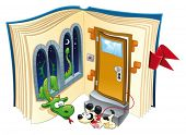 Story book. Funny cartoon and vector scene