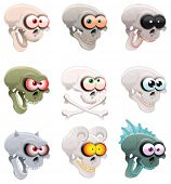 Group of skulls. Funny cartoon and vector characters
