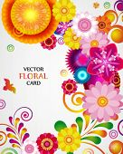 Gift card. Floral design background.