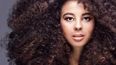 Beauty Portrait Of Girl With Afro. poster