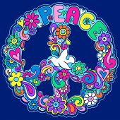 stock photo of peace-sign  - Psychedelic Peace Sign Vector Illustration - JPG