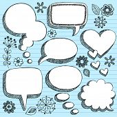 Hand-Drawn Sketchy 3-D Shaped Comic Book Style Speech Bubbles- Notebook Doodles on Blue Lined Paper
