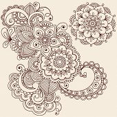 Hand-Drawn Abstract Henna Mehndi Abstract Flowers and Paisley Doodle Vector Illustration Design Elem
