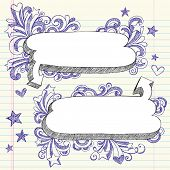 Hand-Drawn 3D Speech Bubbles Sketchy Notebook Doodles with Shooting Stars and Swirls- Vector Illustr