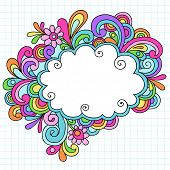 Hand-Drawn Psychedelic Groovy Notebook Doodle Cloud Speech Bubble Design Element on White Graph (Gri
